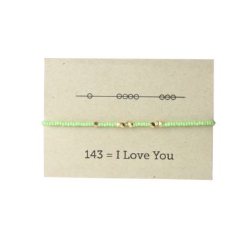 I Love You 143 Friendship Bracelet - Mint