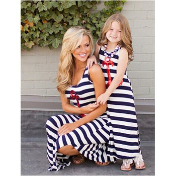 Summer Mother Daughter Dress anchor sequined Dress matching mother daughter clothes Sets Mom And Daughter dress ropa mama e hija