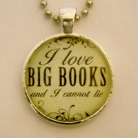 I Love Big Books Geek Necklace. 18 Inch Ball Chain.