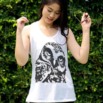 Owl Tank Top T Shirt Cute Owl Clothing Animal Print Shirt Teenager Gifts Boho Tunic Top