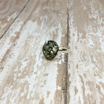 Crushed Raw Pyrite Silver Plated Adjustable Ring