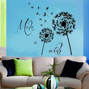 Dandelion Wall Decals Flower Blossom Flowering Art Mural Quote Make A Wish Vinyl Decal Sticker Kids Living Room Interior Design Decor KG917