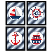 Nautical Art, Set of 4, Navy & Red, Sailboat Art, Nursery Wall Art, Playroom Decor, Children's Art, Printable Art, INSTANT DOWNLOAD.