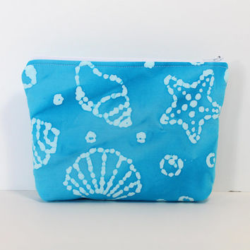 Padded Zipper Pouch Cosmetic Case  Accessory Batik Aqua Blue Seashell Fabric