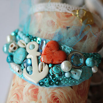 Bib Necklace Medusa soft blue colors in marine style / The treasure of the sea