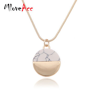 MloveAcc Brand High Quality Gold Plated Marbled Faux White BlackTurquoise Stone Disc Pendant Necklace Women Jewelry