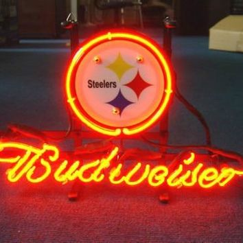 Custom Business NEON SIGN board For PITTSBURGH STEELERS FOOTBALL  REAL GLASS Tube BEER BAR PUB Club Shop Light Signs 17*14""