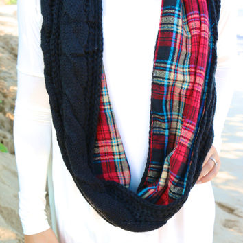 Plaid Knitted Infinity Scarf in Navy