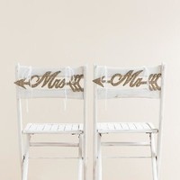 Mr. and Mrs. glitter arrow chair hanger set