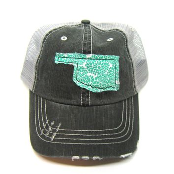 Black and Gray Distressed Trucker Hat - Aqua Floral Applique - Oklahoma - All United States Available