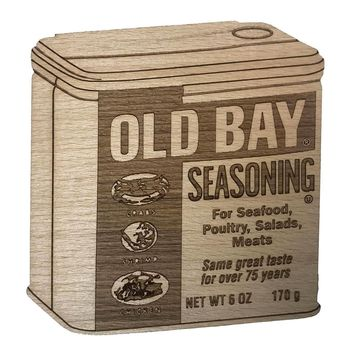 Old Bay Can (3-D) / Wooden Coaster
