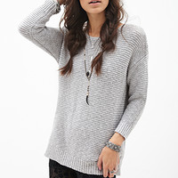 FOREVER 21 Textured Knit Sweater Grey