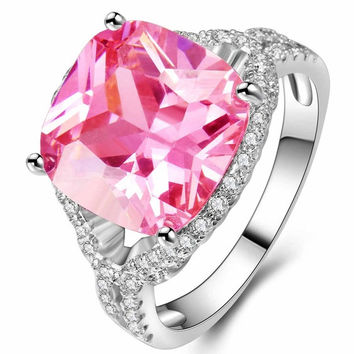 8ct Size 6-10 amazing Princess silver cut  Pink Sapphire & Emerald & Topaz Engagement  Gemstone Ring = 5710649985