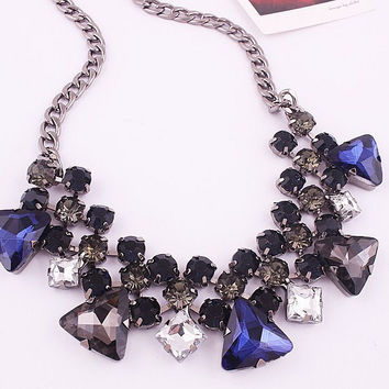 The Silver Charlotte Blue, Grey, Black & White Crystal Choker Statement Necklace on Curb Chain