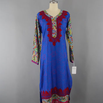 Vintage 1980s Caftan Dress / 80s Kaftan Embroidered / Indian Kurta / Bohemian Festival Loungewear