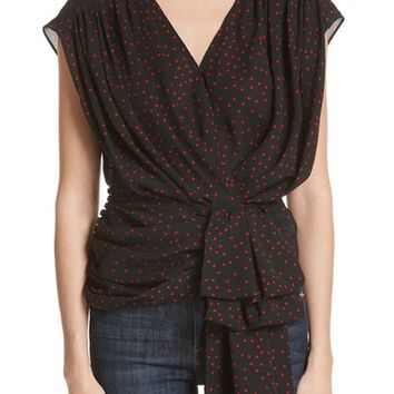 Magda Butrym Polka Dot Silk Gathered Blouse | Nordstrom