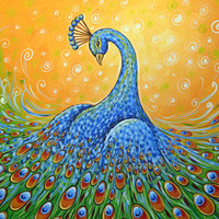 Amy Giacomelli painting print ... Showing Off, peacock art -- Signed 8 x 10 Glossy Print