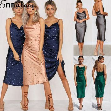 Women Maxi Boho Summer Beach Polka Dots Printed Spaghetti Strap Sleeveless Silk Dress Party Summer Chic Satin Dresses Clothing