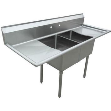"Stainless Steel 2 Compartment Sink 72"" x 27"" with 2 18"" Drainboards"