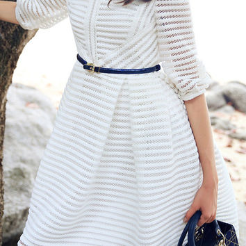 White Half Sleeve Mesh Striped A-Line Midi Dress