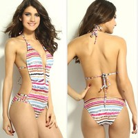 CrazyPomelo Colorful Striped Deep V One Piece Swimsuit - L
