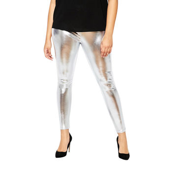 Shine On Metallic Liquid Wet Look Silver Leggings