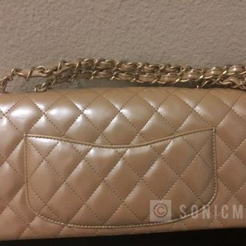 PRE-LOVED CHANEL GOLD PATENT EAST WEST CLASSIC QUILTED FLAP BAG MATTE GOLD HW