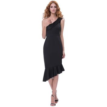 Summer Cocktail Dresses Short Black Formal Gowns Stretch Bodycon One Shoulder Celebrity Party Peplum Mermaid Dress