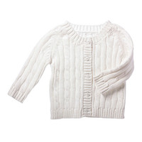 White Cable-Knit Cardigan