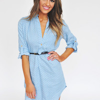 Blue Polka Dot Belted Tunic