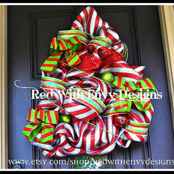 Large Christmas Tree Wreath, Christmas Tree, Christmas Tree Wreath, Wreath, Deco Mesh Wreath, Holiday Wreath, Decoration