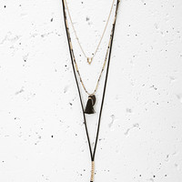 Mixed Tassel Layered Cord Necklace