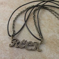 Word Rock Short Choker Necklace Antiqued Bronze Chain Leather Cord