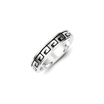 Sterling Silver Greek Key Antiqued Band Ring: 7