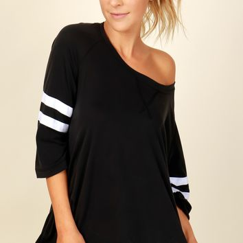 Jersey Life Striped Top Black