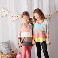 Girls Peach Stripe Crochet Pocket Top