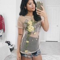 Jude Beige With Flowers Print Mesh Top
