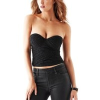 Strapless Dotted-Mesh Bustier Top