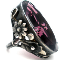Art Nouveau Deco Amethyst Glass Ring Sterling Silver