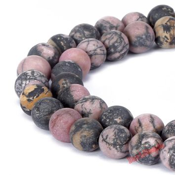 Fctory Price 4 6 8 10 12 mm Natural Stone Dull Polish Matte Black Lace Rhodonite Beads Jewelry Making Diy