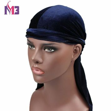 New Luxury Men's Velvet Durags Bandana Turban Hat Wigs Doo Durag Biker Headwear Headband Pirate Hat Hair Accessories