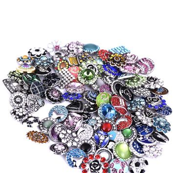 20pcs High Quality Mix Styles 18mm Metal Snap Button For Bracelets Charm Rhinestone ginger Button Snaps Jewelry