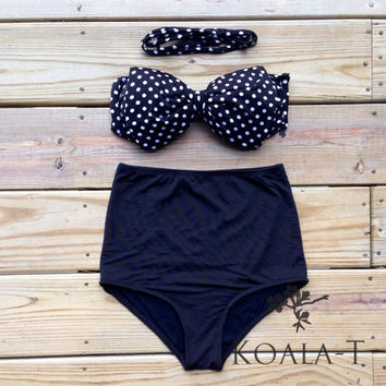 The Retro Black White Polka Dots Bow Bandeau & Black High Waist Bikini! Limited Edition!