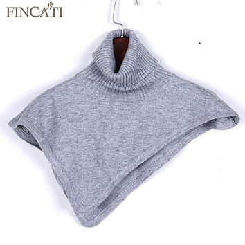 Women Autumn Winter Turtleneck Cashmere Blend Pullover Knitted Cape Ring Scarves Solid Color Warm All-Match Bufandas Stock Clear