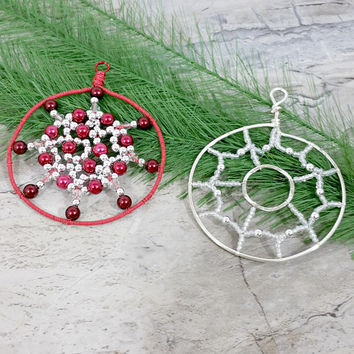 Beaded Ornament, Red Beaded Tree Ornament, Round Silver Ornament, Christmas Tree Ornament, Holiday Housewarming Gift