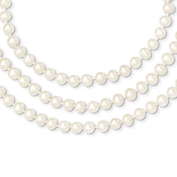 14k 6-6.5mm 3 Strand FW Cultured Pearl Necklace PR10