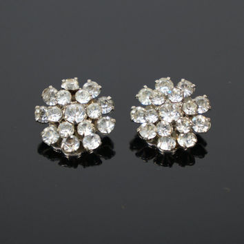Vintage Austria Clear Rhinestone Clip On Earrings - Austria Rhinestone Earrings, Clear Rhinestone Tiered Cluster Clip Earrings