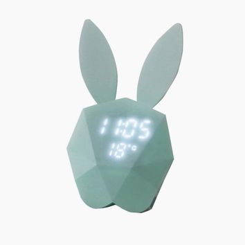 Cute Rabbit Digital Alarm Clock LED Sound Night Light Thermometer Rechargeable Table Wall Clocks Multi-Function lights