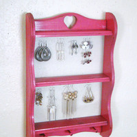 Upcycled and Repurposed Vintage Wooden Rack Watermelon pink Jewelry Display/Organizer/Holder