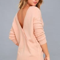 Snowed In Blush Pink Backless Sweater